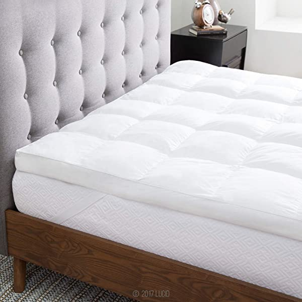 LUCID Ultra Plush 3 Inch Down Alternative Fiber Bed Mattress Topper Allergen Free Pillow Top Soft And Breathable Cotton Percale Cover Queen Size