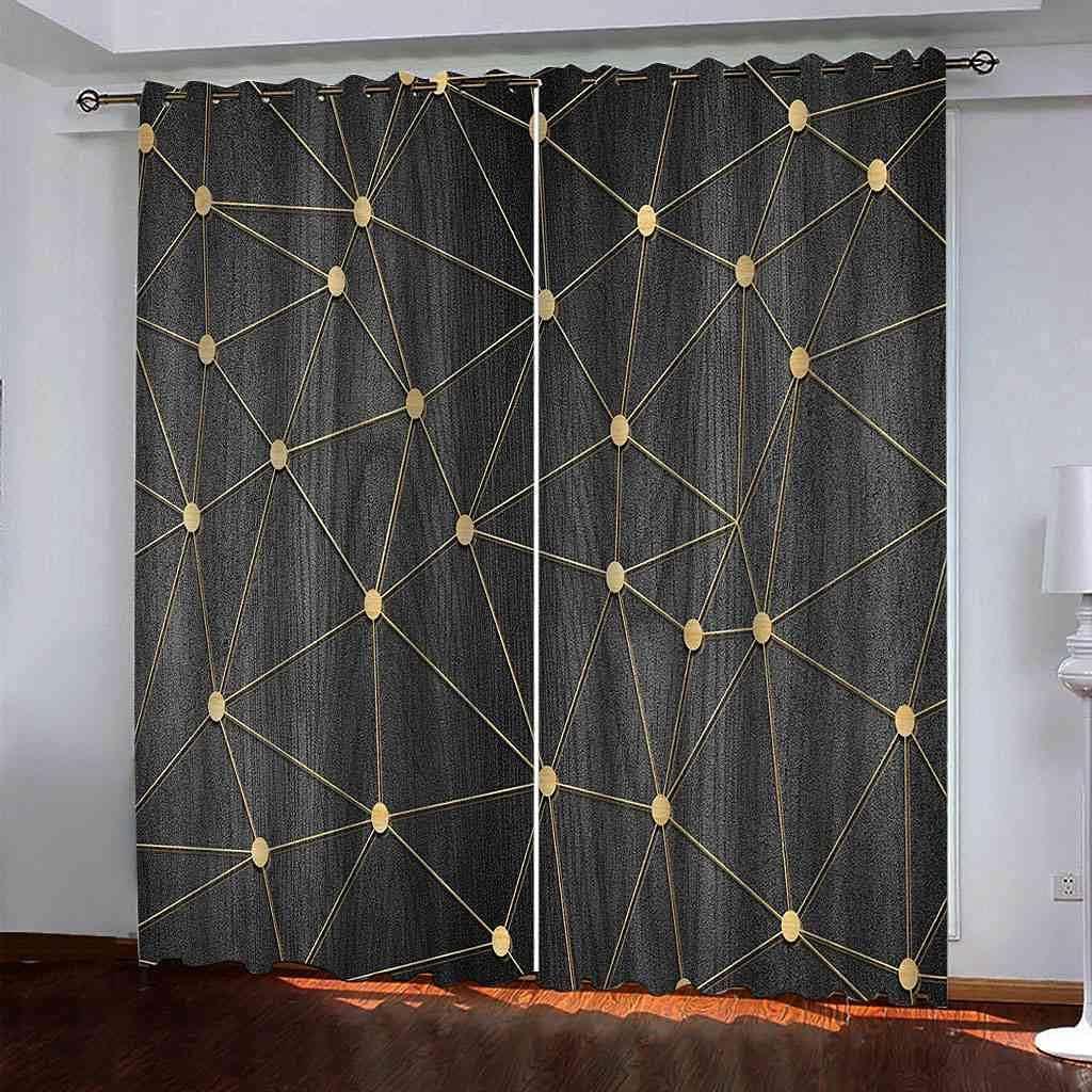GXLOGA Blackout Grommet Curtains for Bedroom Golden line Art W55