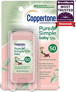 Coppertone Pure & Simple Baby SPF 50 Sunscreen Stick, Water Resistant, Pediatrician Recommended, Mineral Based, Cocoa butt...