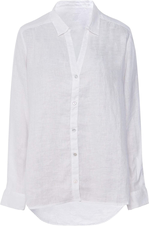 120% Lino Women's Linen Long Sleeve Shirt White