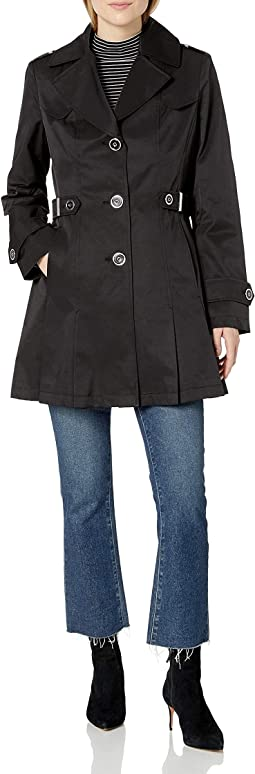 Single Breasted Pleated Trench Coat