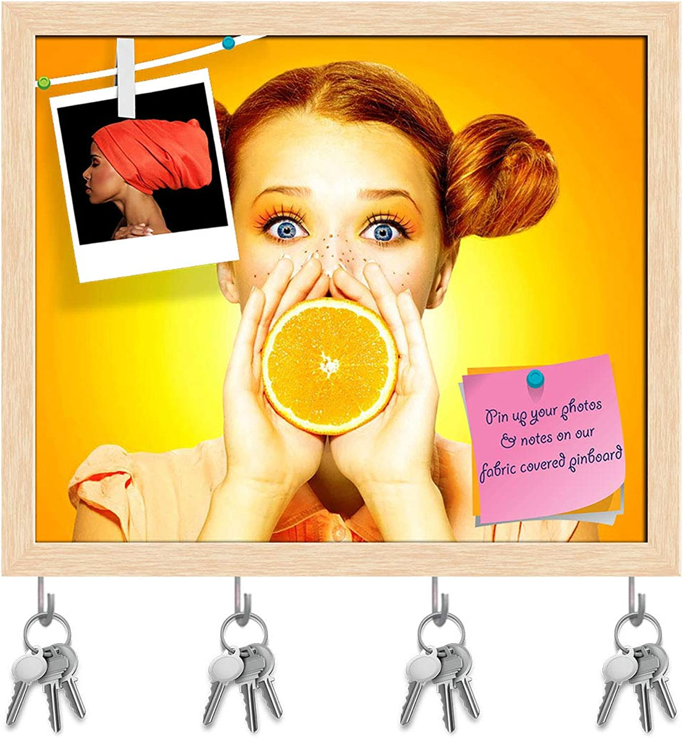 Artzfolio Girl Takes Juicy orange Key Holder Hooks   Notice Pin Board   Natural Brown Frame 19.1 X 16Inch