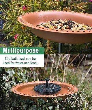 Eazielife Outdoor Bird Bath Freestanding Garden Birdbaths Supports Antique Birdfeeder Bowl with Metal Stake Base, 28 Inches T