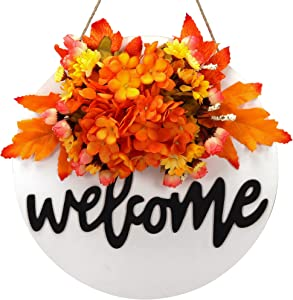 Fall wreath welcome sign for front door decor Wreath Sign for Farmhouse Front Porch Decor spring summer fall wreaths for front door Rustic Door Hanger Front Door Welcome Home Sign Porch Decoration (A)
