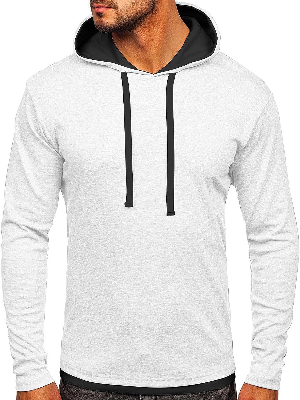 Men's Hoodies Fashion Plain Athletic Hoodies Color-blocked Sport Sweatshirt Long Sleeve Pullover Drawstring Tops