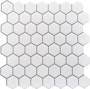 Crystiles 12in x 12in Vinyl Peel and Stick Backsplash Tile, Hexagon White, Pro Series Thicker Version, 4-Sheet Pack