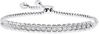 1/10cttw Diamond Miracle Plate Adjustable Bolo Tennis Bracelet