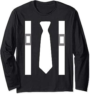 White Tie With White Suspenders Mafia Costume Shirt Long Sleeve T-Shirt