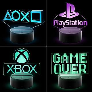 CHANONE Playstation Lampe mit Farbwechsel Funktion 16 Farben LED-Tisch-Schreibtisch-Lampen USB-Lade, die Schlafzimmer-Deko...