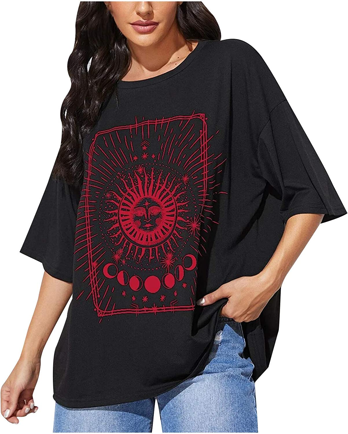 Women's Tees Sun Moon Printed O-Neck Short NEW before selling Casual Manufacturer regenerated product Sleeve Loose