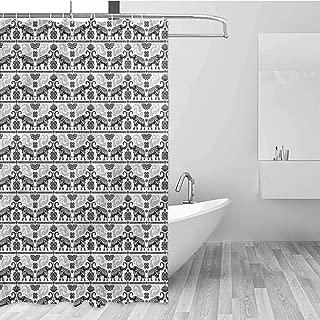 GloriaJohnson Elephant Geometric Shower Curtain Boho Tribal Tattoo Art for Kids Bathroom Guest Bathroom W108 x L72 Inch