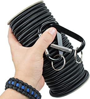 Marine Grade Shock Cord with 2 Carabiners - 6 Colors of USA Made Bungee, Stretch, and Elastic Cord - 1/8, 3/16, 1/4 Inch o...