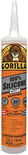 Gorilla Clear 100 Percent Silicone Sealant Caulk, Waterproof and Mold & Mildew Resistant, 10 Ounce Cartridge, Clear, ...