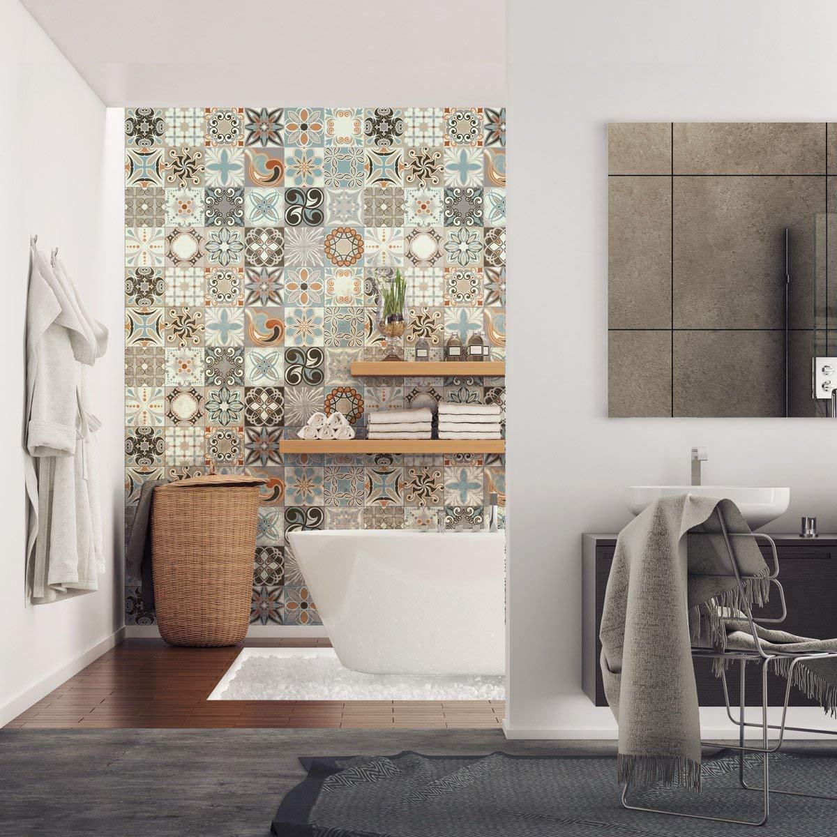 Sticker adhésifs carrelages  Sticker Autocollant Carreaux de Ciment -  Mosaïque carrelage mural salle de Bain et Cuisine  Carreaux de Ciment  Adhésif