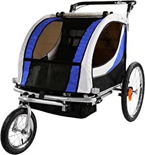 Clevr 3-in-1 Collapsible 2 Seat Double Bicycle Trailer Baby Bike Jogger/