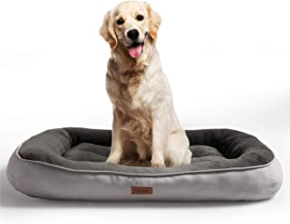 Petsure M/L/XL Large Dog Bed (32/36/43 inches) for Small, Medium, Large Pets Up to 45/70/100 lbs - Plush Pet Bed -Extra Large Dog Bed for Crate - Machine Washable - Grey/Brown
