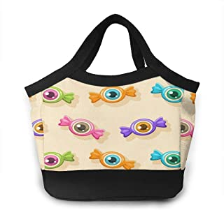 Vintage Happy Halloween Cute Colorful Candy Insulated Reusable Lunch Bag Portable Handbag Box Food Container Gourmet Tote Waterproof for School Work Office Women Men Kids Boys Girls