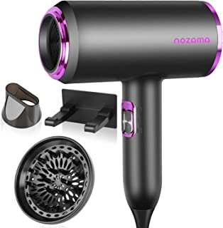 Ionic Hair Dryer, Nozama 1800W Professional Hair Blow Dryers with 3 Heat Settings, 2 Speed, 3 Cool Settings,2 Concentrator...