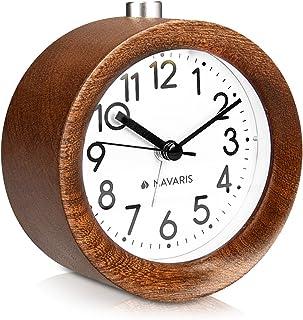 Navaris Réveil analogique en Bois - Horloge à Aiguilles Classique avec Fonctions Heure Alarme Snooze lumière - Design Rond...