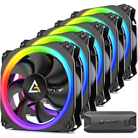 Antec RGB Fans, PC Fans 120mm RGB Fans, 5V-3PIN Addressable RGB Fans, Motherboard SYNC with 5V-3PIN, 120mm Fan 5 Packs with controller, Prizm Series RGB Fans