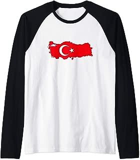 TURKEY - Country Outline & Flag Raglan Baseball Tee