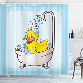 Ambesonne Duck Shower Curtain, Cartoon Character Taking a Bath Colorful Drops Blue Backdrop with Dots Kids Nursery, Cloth Fabric Bathroom Decor Set with Hooks, 70