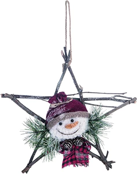 Rustic Snowman Twig Star Wreath Hanging Holiday Decoration Winter Hat