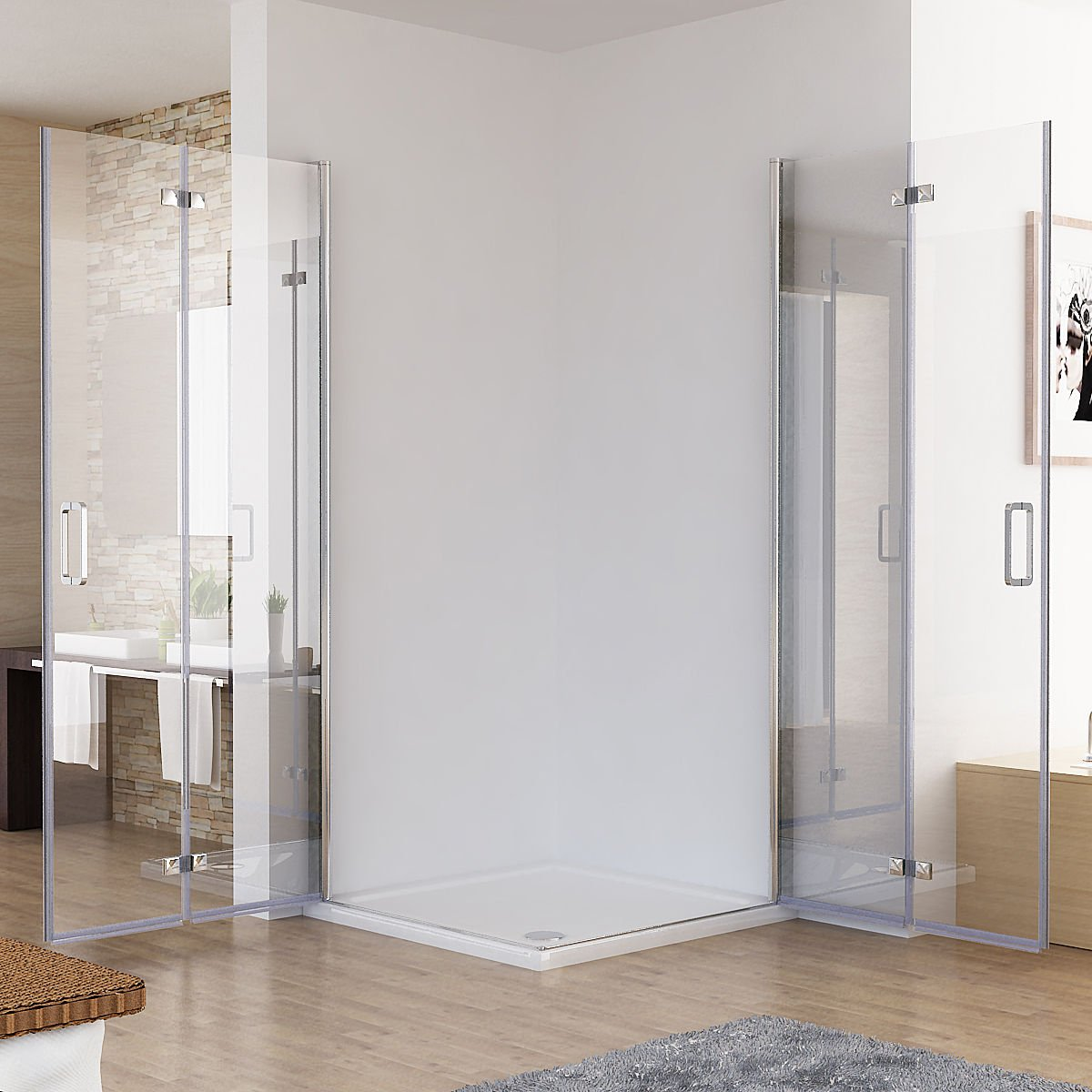 100 X 80 X 197 Cm cabinas de ducha esquina. Ducha Puerta plegable ...