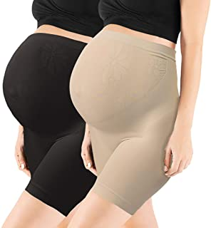 2 Pack Womens Seamless Maternity Shapewear High Waist Mid-Thigh Pettipant Pregnancy Underwear for Belly Support