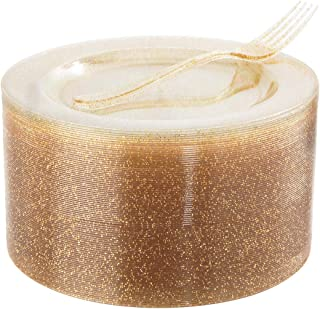 """I00000 72 Pieces Plastic Dessert Plates 7.5"""" & 72 Pieces Gold Disposable Forks 7.4"""" with Gold Glitter, Gold Disposable Pla..."""