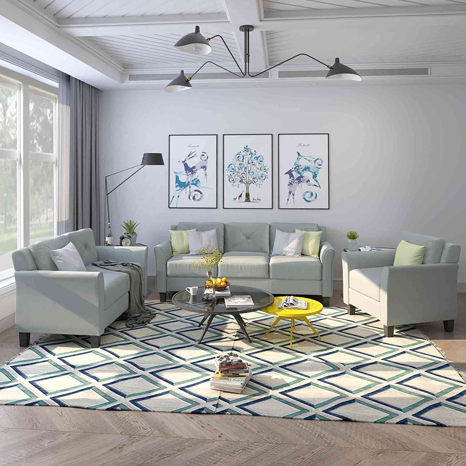 Tulib 3 Piece Living Room Sofa Set, Button Tufted Sectional Couch, One 3-Seat Sofa & Loveseat and Armchair, (1+2+3 ), Grey