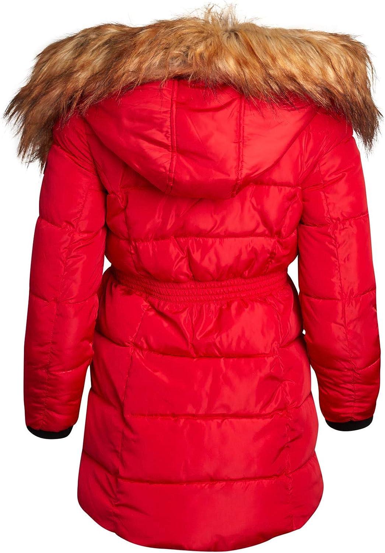 Steve Madden Girls Winter Coat Long Length Puffer Parka Ski Jacket with Faux-Fur Trimmed Hood