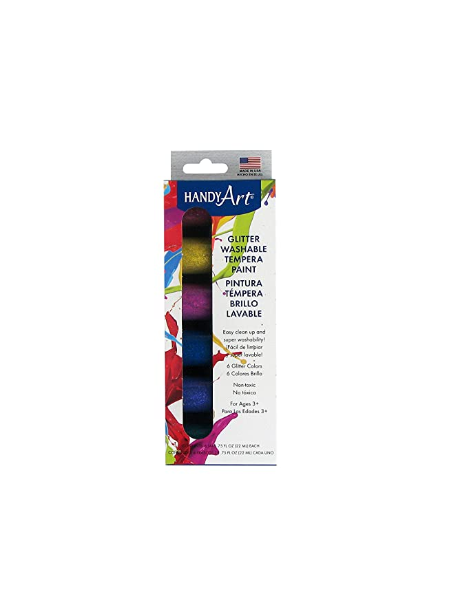 Handy Art Glitter Washable Tempera Paint Kit, 0.75-Ounce, Assorted