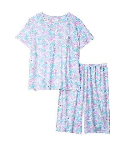 Karen Neuburger Plus Size Tropical Capsule Short Sleeve Pullover Bermuda Pajama (Caribbean Queen White) Women