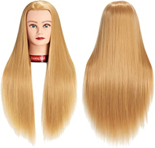 """26""""-28"""" Mannequin Head Hair Styling Training Head Manikin Cosmetology Doll Head Synthetic Fiber Hair Hairdressing Training Model With Free Clamp (Blond)"""