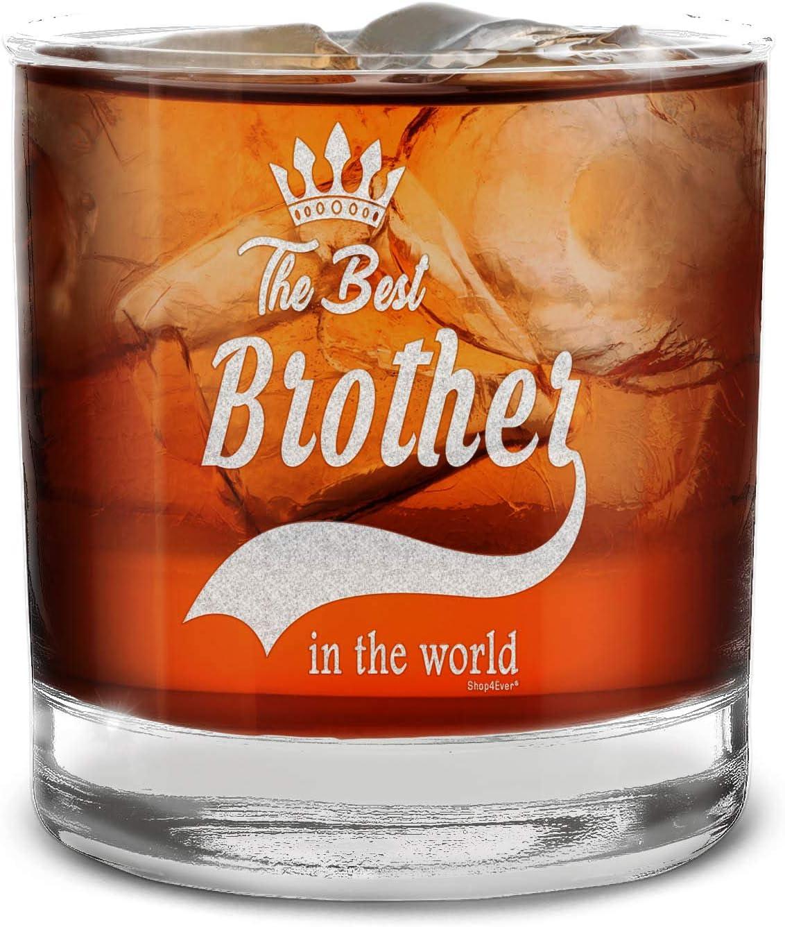 Shop4ever Vaso de whisky grabado con el mejor hermano en el mundo.