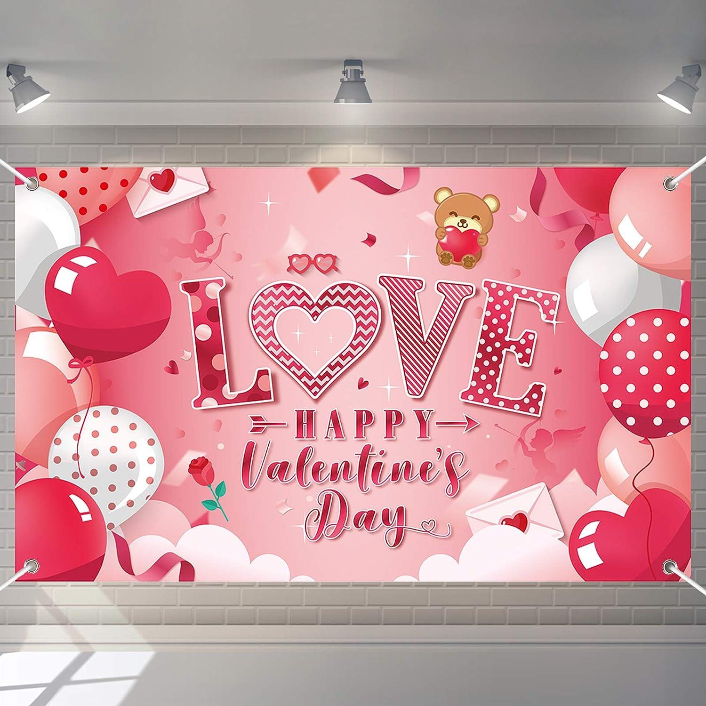 Valentine's Day Free shipping Backdrop Valentine Banner Love ...