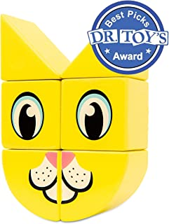 Itty Bitty City 6 Pc Magnetic Wooden Building Block Puzzle Set   Cat and Dog Animal Print Design and Winner of Dr. Toy's 2018 Best Picks  Home, Preschool and Travel Toy   Children's Brain Game