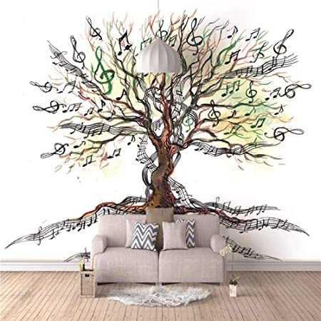 YTJBEI Photo Wallpaper Wall Mural -Music Tree Non Woven Wall Mural Adults and Children Teen´s Room Office for Bedrooms 3D Mural Wall Decoration 300 X 210 cm