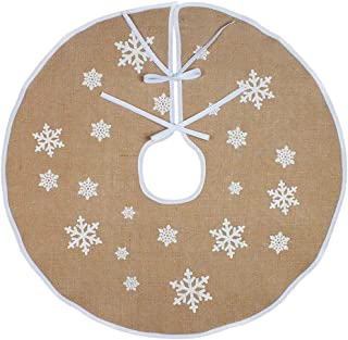 YeahiBaby Christmas Tree Skirt in Linen with Snowflake Pattern Christmas Tree Ornaments Holiday Decoration 120cm