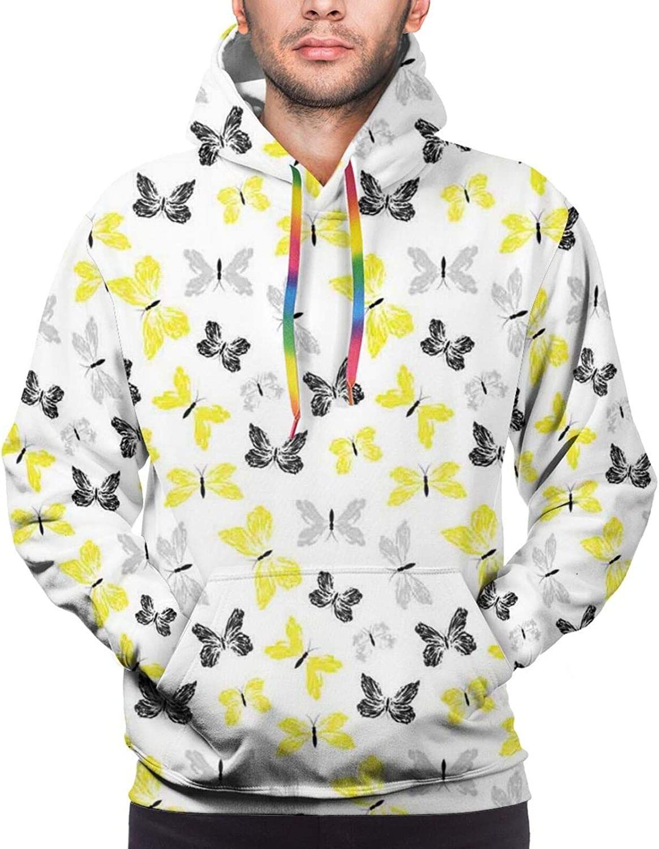 Men's Hoodies Sweatshirts,Hand-Drawn Fish Seaweeds Seahorse Algae Figures Tropical Sea Life Design