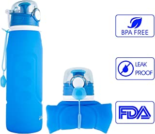 iKiKin Collapsible Bottle Silicone Leak Proof BPA Free Portable Lightweight Water Bottle 1000ML 35fl OZ