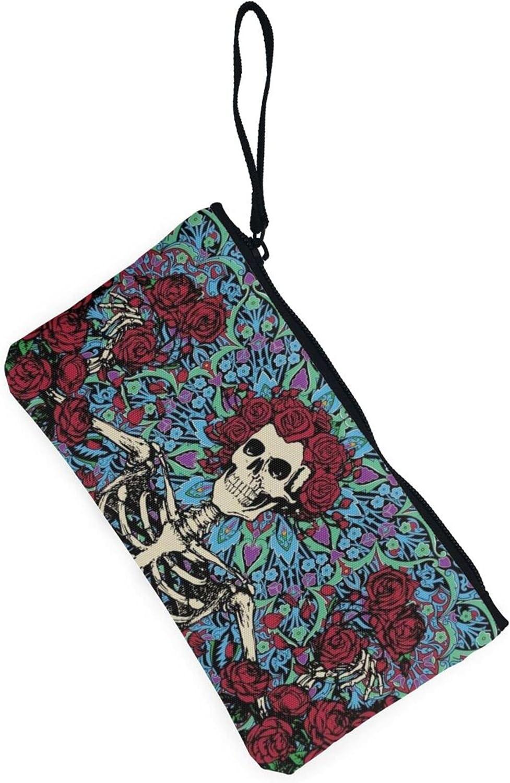 AORRUAM Rose and skull Canvas Coin Purse,Canvas Zipper Pencil Cases,Canvas Change Purse Pouch Mini Wallet Coin Bag