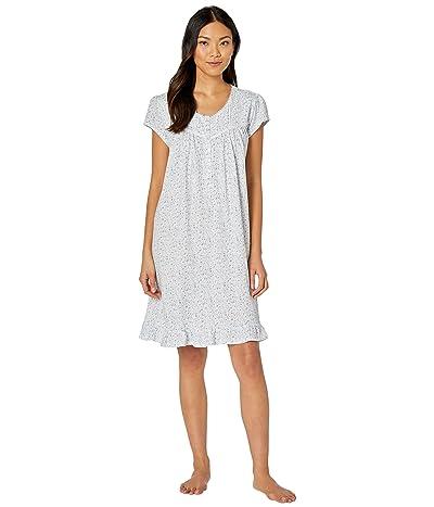 Eileen West Cotton Jersey Knit Short Sleeve Short Nightgown (White Ground/Multi Scroll) Women