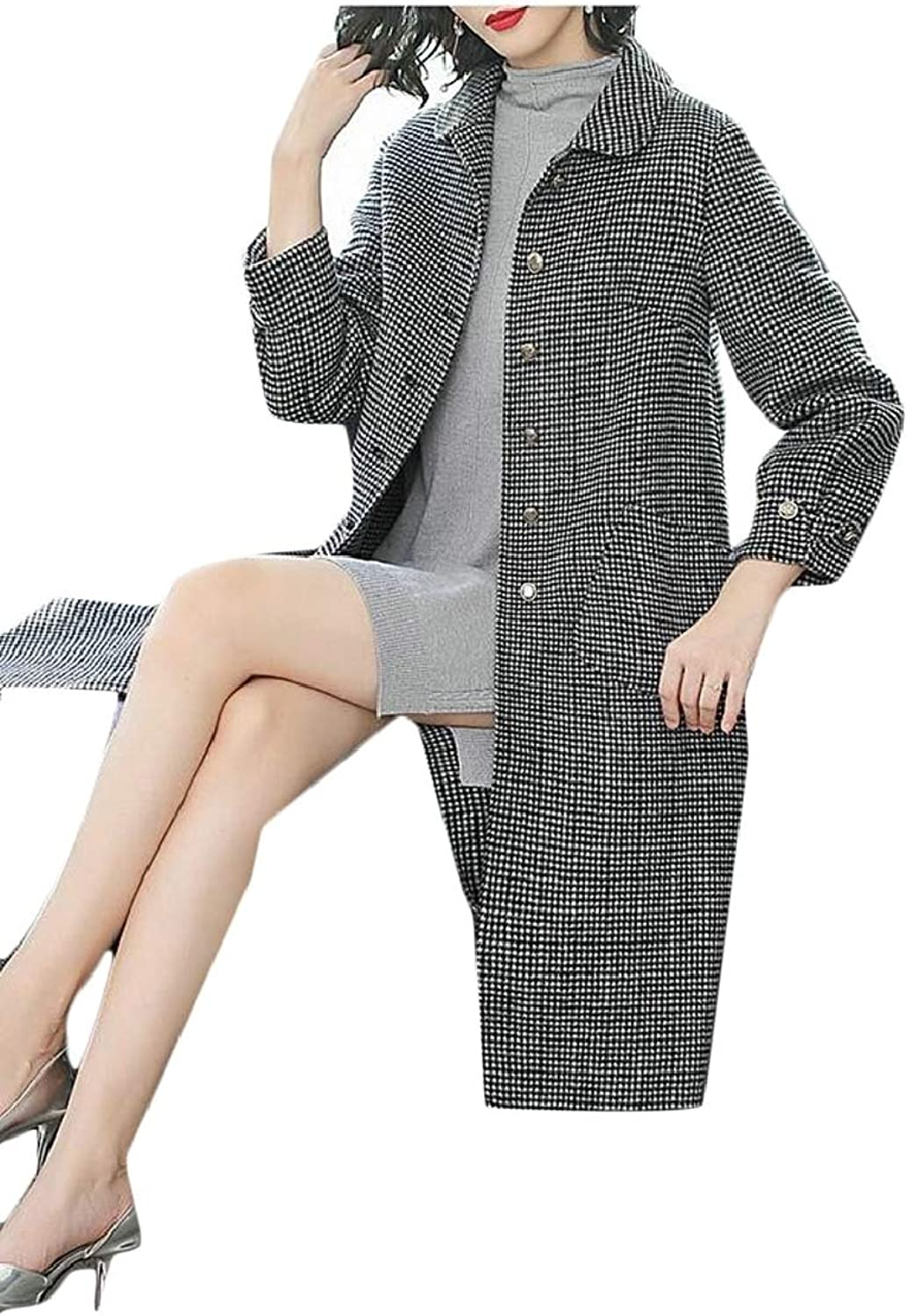 QDCACA Womens SingleBreasted Houndstooth Trench Coat Wool Coat