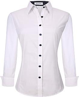 Womens Dress Shirts Regular Fit Long Sleeve Stretch Work Shirt