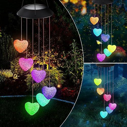 Campanilla de Viento Solar - LED Carillón de Viento Cambio de Color Campanas de Viento Solar Luces Impermeable para I...
