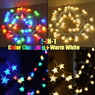 Abkshine 50 LED Warm White and Color Changing Battery Operated Star String Lights w/Remote Timer, Waterproof Outdoor Fairy Lights Multicolored LED for Christmas Tree Decor Princess Castle Play Tents
