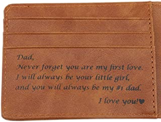 Personalized Wallet Never Forget You Are My First Love. I'll Always Be Your Little Girl, You Will Always Be My #1 Dad. Father's Day Gift - Dad Gifts from Daughter for Birthday, Christmas Gifts for Dad
