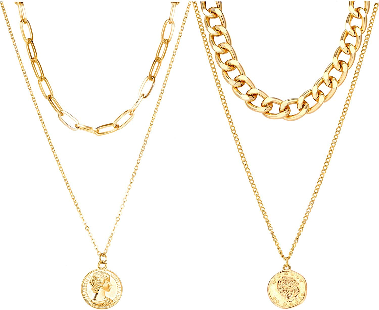 Set of 2 Gold Layered Necklaces Link Coin Pendant Chain Necklace for Men Women Girls
